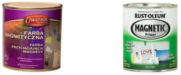 Farba magnetyczna Owatrol (po lewej) i Rustoleum (po prawej)